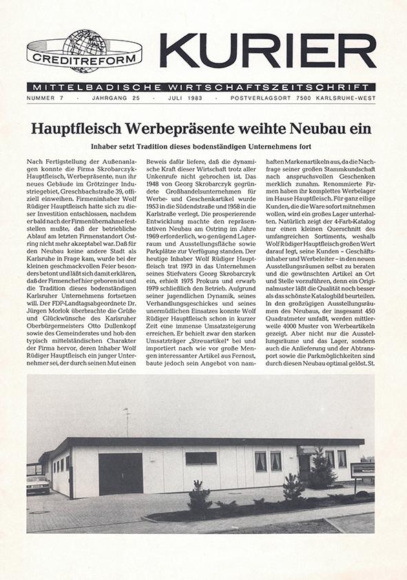 Zeitungsartikel aus dem Kurier über die Einweihung des neuen Firmengebäudes