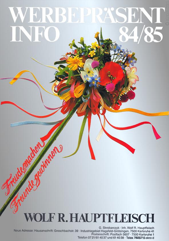 Titelseite der Ausgabe aus 1984/85 des Werbepräsente Hauptfleisch Katalogs: edler Silberhintergrund mit Blumengesteck
