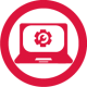 Beschaffung- und Werbemittel-Portal-Icon: Laptop mit Zahnrad
