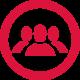 Werbemittel-Full-Service-Icon mit 3 Dummies